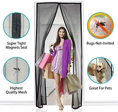 """Apalus Magnetic Screen Door, 36""""x83"""" Super Strong Fly Mesh, 28 Magnets from Top to Bottom Ultra Seal Magnets Close Automatically"""