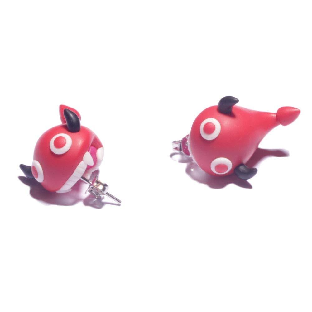 ZaH Pair of 925 Silver Earring Cartoon Animal Jewerly Gift Earring for Women Men Kids, Red Devil