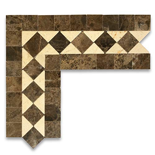 (Crema Marfil Marble Classic Diamond Mosaic Border Accent Corner Tile Polished)