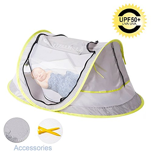 PAVOO Baby Travel Tent, Portable Baby Travel Bed UPF 50+ UV Protection for Toddlers and Children, Beach Tent Mosquito Net with a Carrying Bag and 2 Pegs for Indoors & Outdoors