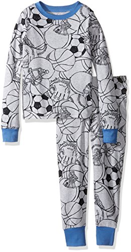 The Children's Place Boys' Big Boys' 2-Piece Cotton Pajama Set, Sports, 10