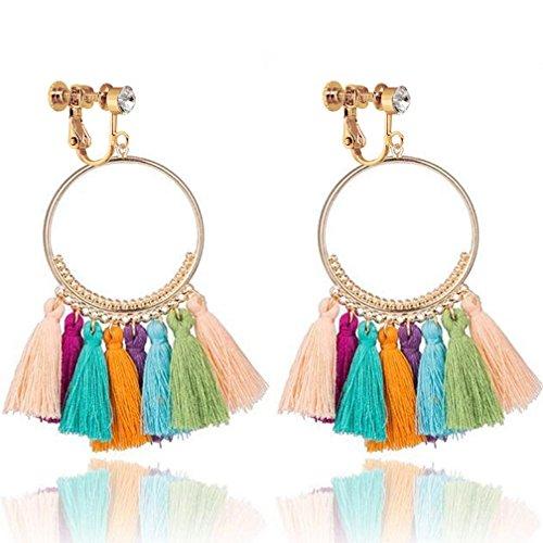Bohemia Long Dangle Rhinestone Clip on Earrings Tassel Thread for Women Circle Drop Gold Hoop Multicolor ()