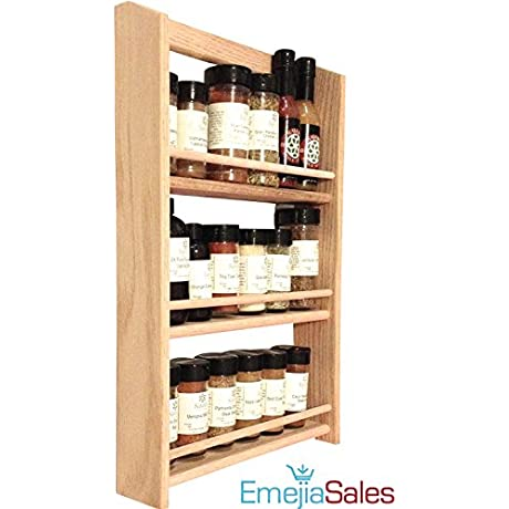 EmejiaSales Oak Spice Rack Wall Mount Organizer 3 Shelf Design Hanging Natural Wood Country Rustic Style Great Storage For Pantry And Kitchen Holds 18 Herb Jars