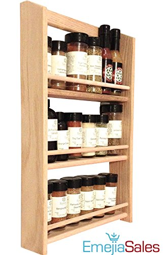EmejiaSales Oak Spice Rack Wall Mount Organizer (3-Shelf Design), Hanging Natural Wood Country Rustic Style, Great Storage for Pantry and Kitchen - Holds 18 Herb (Natural Oak Wall Cabinet)