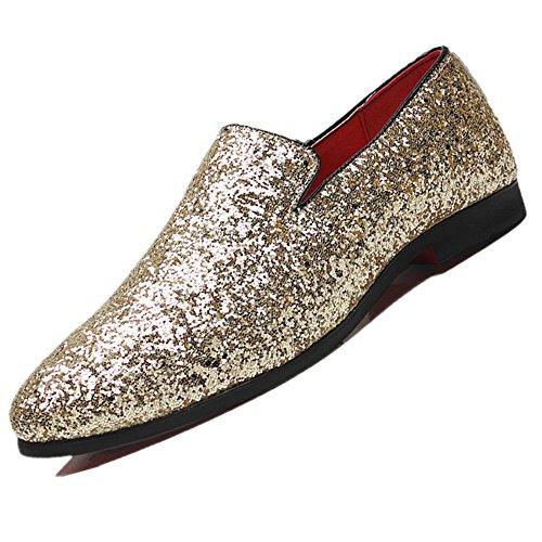los de Gran la Hombres Casuales Cuero de Extragrande Zapatos Manera Los Deslizan Bebete5858 se Dorado los Zapatos de 48 EN de la extragrandes Manera DE Tamaño zwxqXH11YS