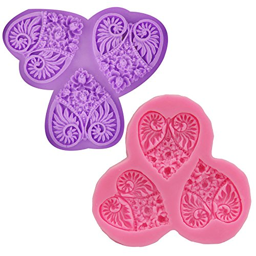 [Let'S Diy Silicone Loving Heart Mold Sugar Craft DIY Fondant Lace Cake Decorating Tools Mould Baking] (2016 Womens Halloween Costumes Diy)