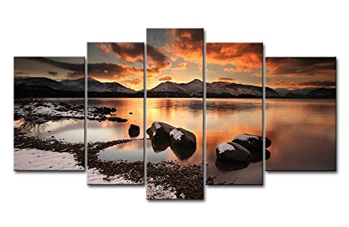 (Canvas Print Wall Art Painting For Home Decor Mountain Lake Winter Evening Rock Ice Beach Snow 5 Pieces Panel Pictures Stretched And Framed Artwork Oil The Picture Decoration Landscape Photo Prints)