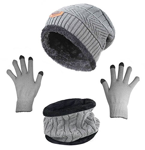 HindaWi Winter Beanie Hat Scarf Gloves Slouchy Snow Knit Skull Cap Scarves Touch Screen Mittens For Women Grey -