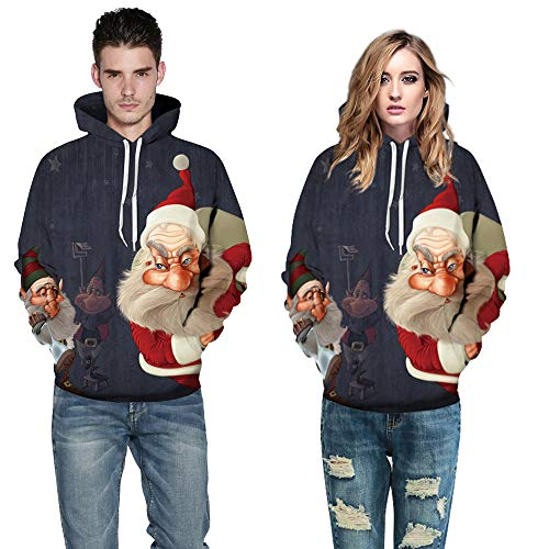 WUAI Christmas Costumes for Couples Ugly Christmas Hooded Sweatshirt Santa Claus Pattern Casual Hoodies -