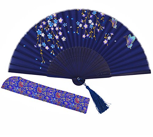 Amajiji Women Hand Held Silk Folding Fans with Bamboo Frame (Blue)