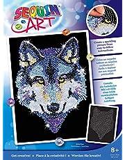 MAMMUT 8041215 - Sequin Art obraz cekinowy wilk, obraz wtykowy, zestaw do majsterkowania z ramą ze styropianu, aksamitny szablon obrazów, cekiny, szpilki, instrukcja, dla dzieci od 8 lat