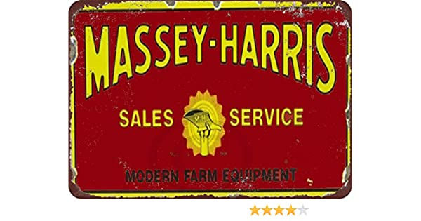 "Massey Harris Sales /& Service Rustic Retro Metal Sign 8/"" x 12/"""