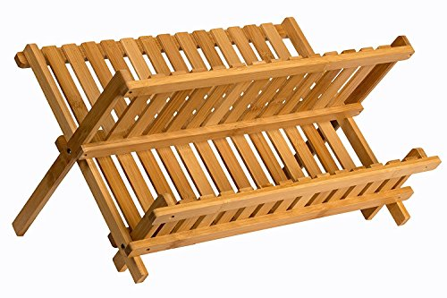Sagler wooden dish rack plate rack Collapsible Compact dish drying rack Bamboo dish - Small Dish Bamboo Rack