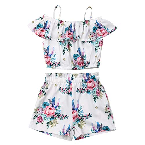 Baby Girls Kids Floral Sling Ruffled Outfit Off-Shoulder Top Shorts 2PCS Set (3-4T, White)
