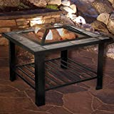 PURE GARDEN 30 INCH SQUARE FIRE PIT AND TABLE w/ COVER-BLACK