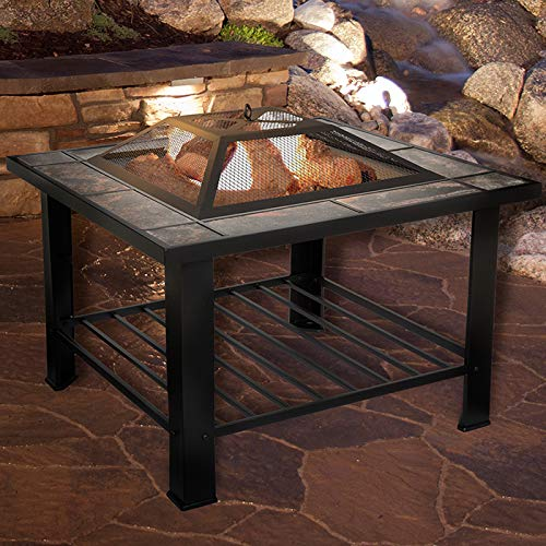 PURE GARDEN 30 INCH SQUARE FIRE PIT AND TABLE w/ COVER-BLACK by Pure Garden