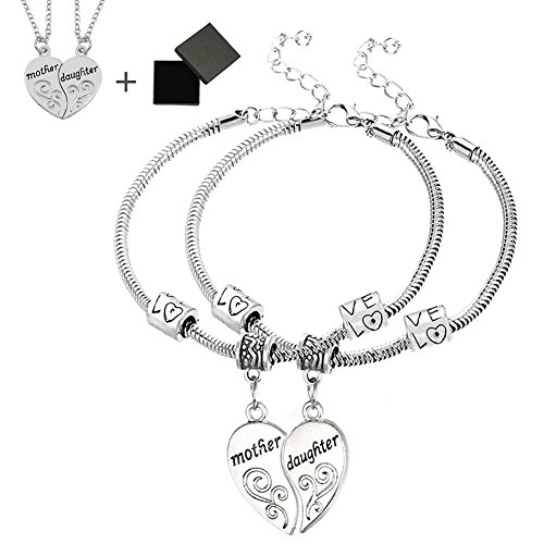 Daughter Bracelet Set (Mother Daughter Bracelet Set with Gift Box 2pcs Heart Charms Cuff Jewelry Set Gift for Mom Daughter)