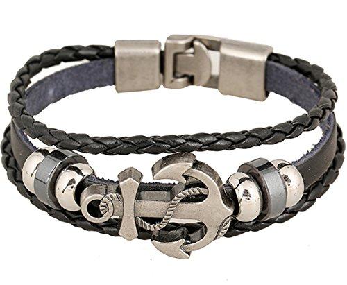 Rock Multilayer Handmade Leather Nautical Anchor Bracelets Men Retro Braided Charm Bracelet (Black)