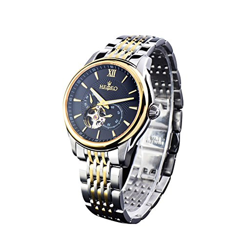 HEOJEO Mens Watches Stainless Steel Analog Ditigal Watch for Men with Black Color Dial by HEOJEO