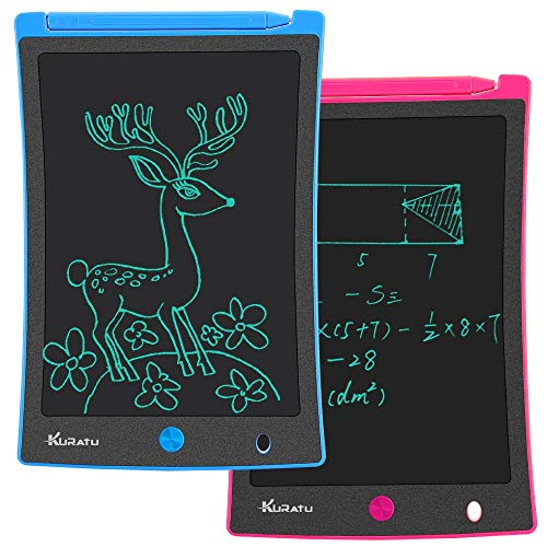KURATU LCD Writing Tablet 2 Pack 8.5 Inch Doodle Board, Toys for 2-12 Years Old Kids, Electronic Drawing Tablet Drawing Pads, Educational Birthday Gift for 3 4 5 6 7 8 9 Years Old Boy and Girls