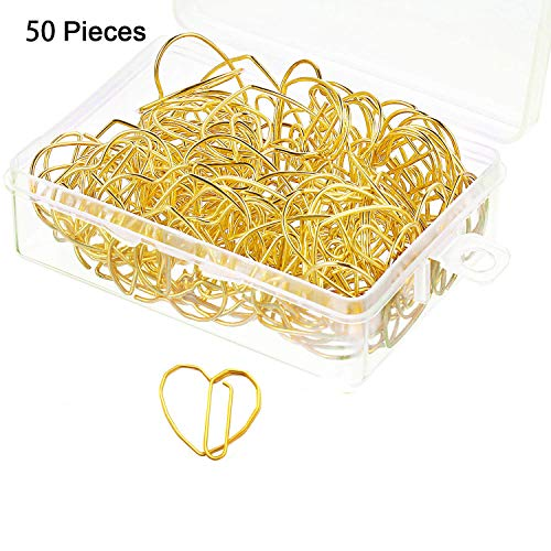 3cm Small Metal Paperclips Electroplated Office School Supplies Special Strong Love Heart Shape (Gold,50 Pcs) (Heart Paperclip Bookmark)