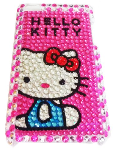 [WG] HELLO KITTY Apple iPod Touch 4th Generation 4G iTouch 4 Full Diamond Rhinestones Bling Jeweled BACK PIECE Protector Case (Blue Shirt) + FREE WirelessGeeks247 Detachable Neck Strap / Lanyard