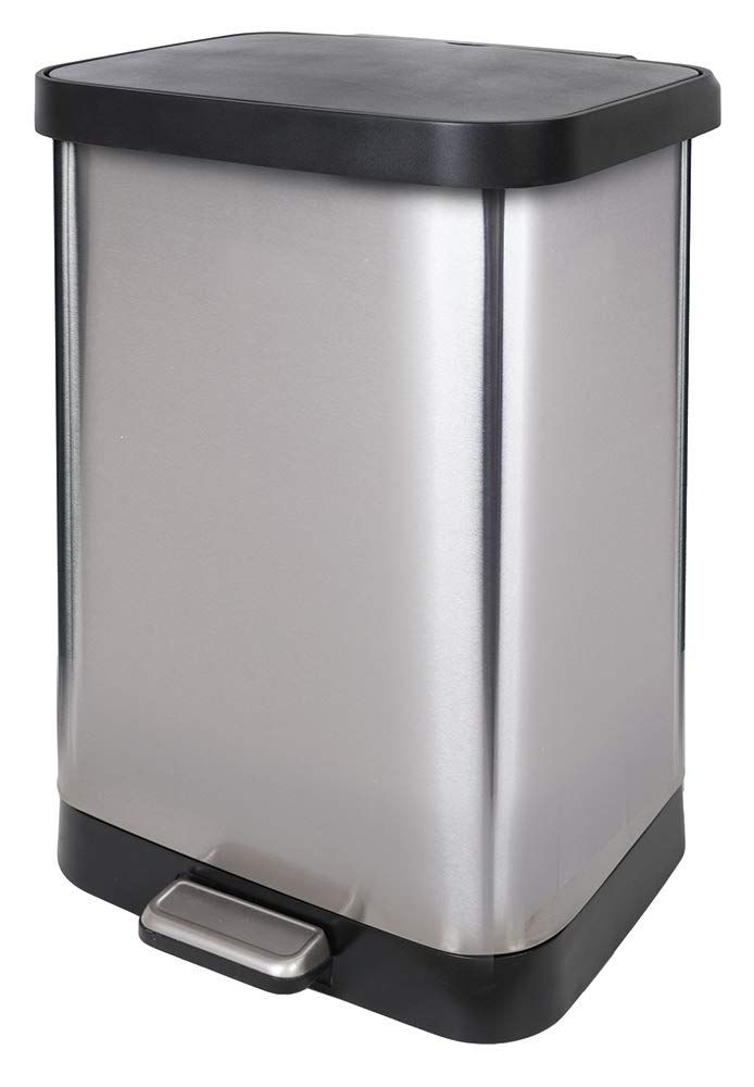 GLAD GLD-74506 Stainless Steel Step Trash Can with Clorox Odor Protection of The Lid | Fits Kitchen Pro 13 Gallon Waste Bags