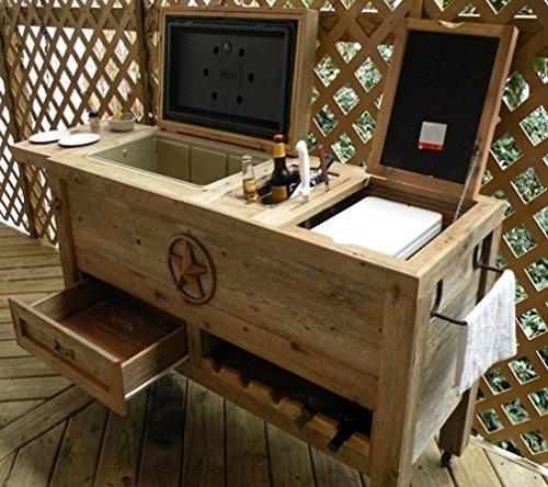 Outdoor Patio Cooler Bar   Wooden Rustic Kitchen Furniture   Grilling Prep  Station On Roller Wheels   Wine Storage, Beer Bottle Opener, Towel Rack, ...
