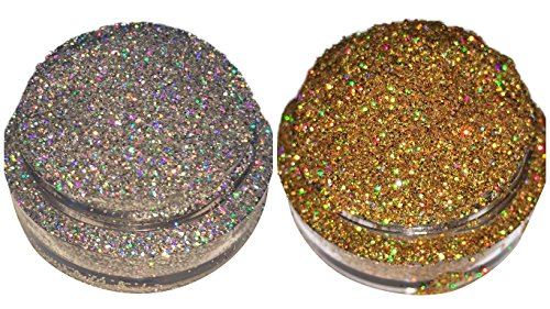 Calavera Cosmetics Holographic GOLD & SILVER Glitter For Eyeshadow / Eye Shadow / Eyes / Face / Lips / Nails Makeup Glitter Dust Shimmer - Compare to NYX - Loose Cosmetic Glitter / Nail Art