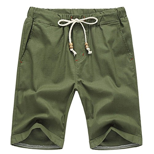 (Aiyino Men's Linen Casual Classic Fit Short Summer Beach Shorts Small Army Green)