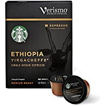 Starbucks Verismo Ethiopia Yirgacheffe Espresso Single Serve Verismo Pods, Medium Roast, 6 boxes of 12 (72 total Verismo pods)