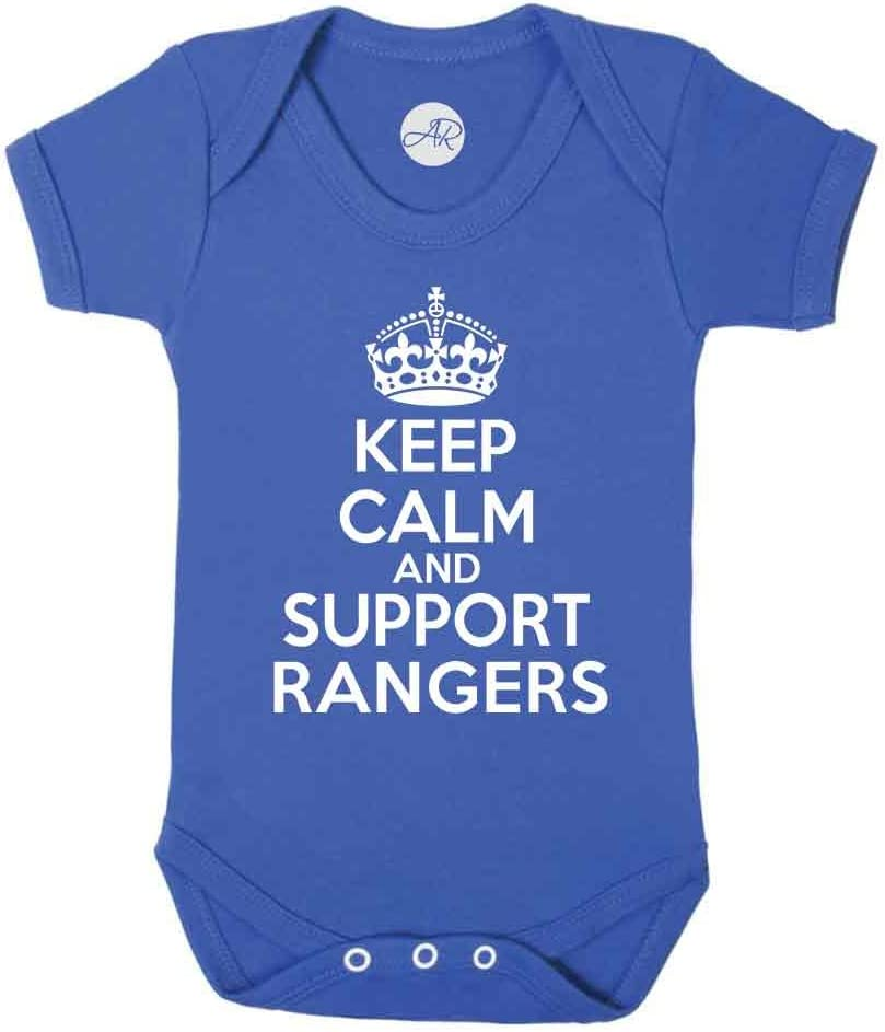 Keep Calm and Support Rangers Fun Football SPFL The Gers Supporter Baby Vest 0-3 Montrhs