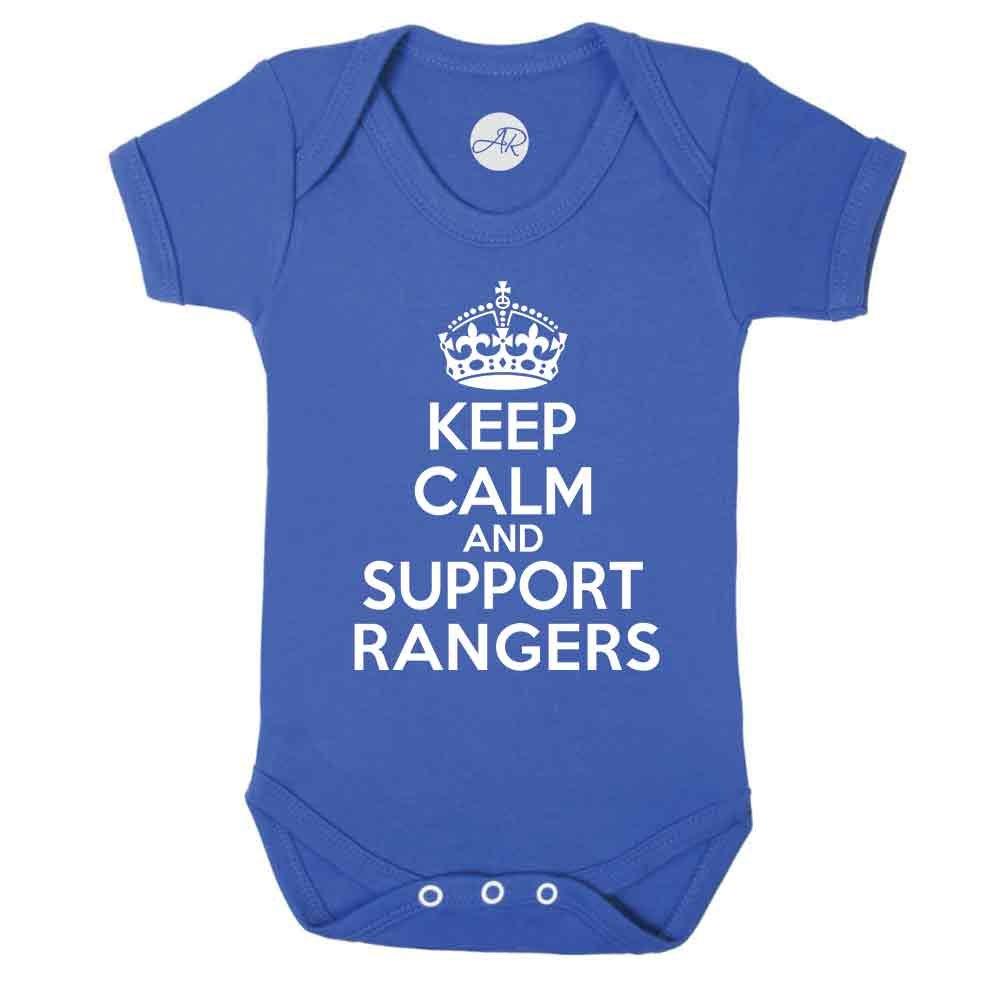 Keep Calm and Support Rangers fun football SPFL The Gers supporter baby vest (12-18 Months) Doodleman