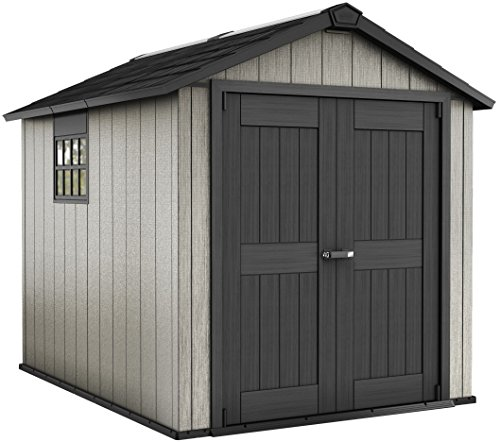 Garden Shed Kits - Keter Oakland 7.5 x 9 Outdoor Duotech Storage Shed, Paintable with Window and Skylight, Grey
