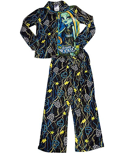 Monster High - Big Girls Long Sleeve Pajamas, Black 37802-7/8 (Monster High Girls Names)