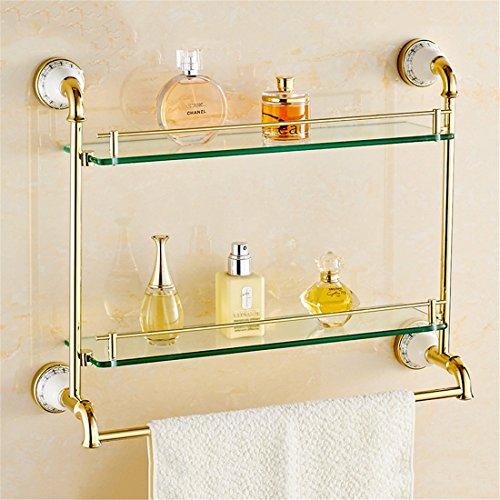 Two Ceramic Decks - LAONA Continental copper gold ceramic base bathroom accessories set single double bar Toilet brush holder, built-in shelf 2