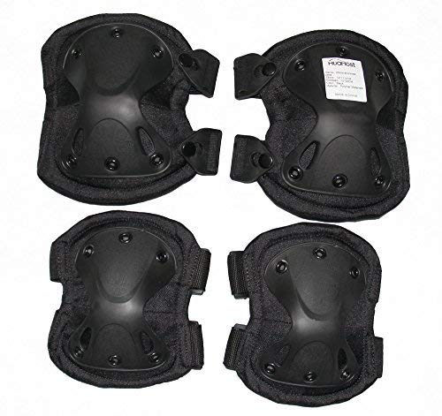 Huamost Cycling Roller Skating Knee Elbow Protective Pads - Adjustable Size, Suitable for Multi Sports,Skateboard, Biking, Mini Bike Riding and Other Extreme Sports (Black)]()