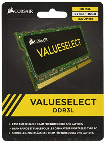 - Corsair CMSO16GX3M2C1600C11 16GB (2x8GB) 1600MHz PC3-12800 204-Pin DDR3 SODIMM Laptop Memory Kit 1.35V