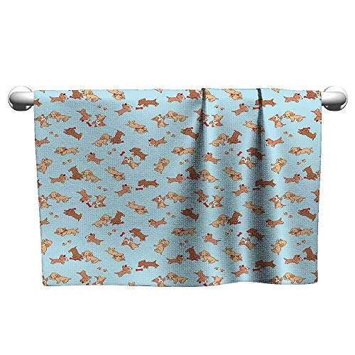 xixiBO Soft Towel W35 x L12 Dog,Checkered Square Pattern Background Playful Puppies Paw Print Golden Retriever Breed,Multicolor Hand Towels and Dish Cloth