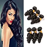 Brazilian Loose Wave Bundles 3Pcs Human Hair Bundles Sew In Hair Extensions Loose Hair Weave Real Hair Weave On Sale Double Weft Next Day Delivery Hair Top Quality Natural Black 12 14 16 Inch
