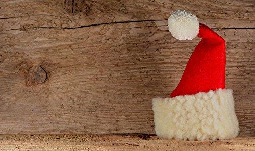 Laminated Wood Santa - Home Comforts LAMINATED POSTER Wood Background Fabric Advent Christmas Santa Hat Poster