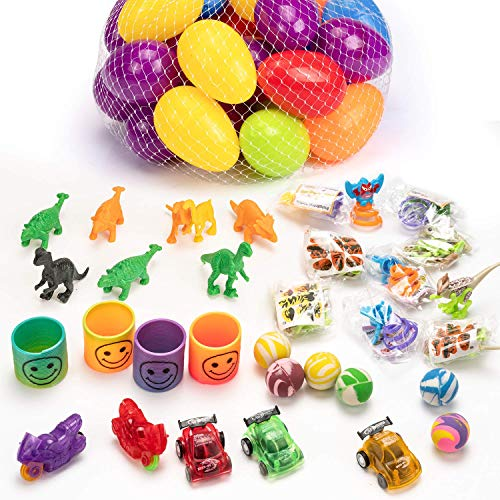 muscccm 36 Pcs Toy Filled Easter Eggs,with 5 Popular Toys Eggs Perfect as Party Favors Egg Hunt Supplies Easter Basket Stuffers for Kids Childrens Toys Party Gifts Decoration