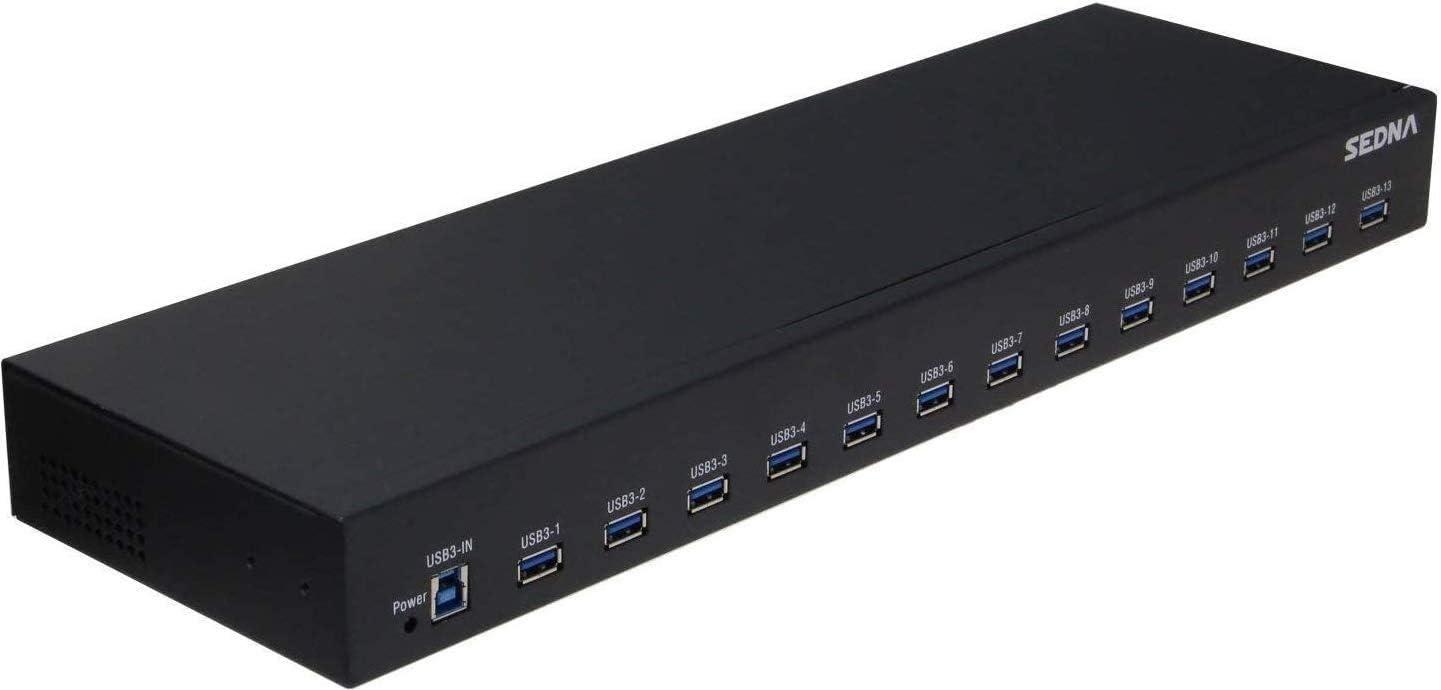 Sedna 13 Port USB 3.1 Gen I Hub (5Gbps) - 19 Inch 1U Rack Mount (5V10A Adapter)