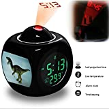 Projection Alarm Clock Wake Up Bedroom with Data and Temperature Display Talking Function, LED Wall / Ceiling Projection, Dinosaur-520.62_dinosaur tyrannosaurus toy animal jurassic