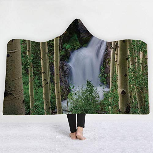HiDecorRoom 3D Printing Hooded Blanket Double Layer Flannel, 60Inch X 80Inch]()