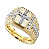 2heart 14K Yellow Gold Fn 1/4 Ct D/VVS1 Diamond Cross Wedding Band Ring For Men's