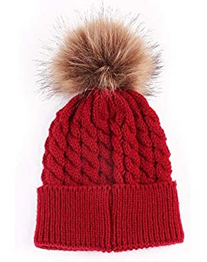 Baby Cable Knit Pom Pom Hats
