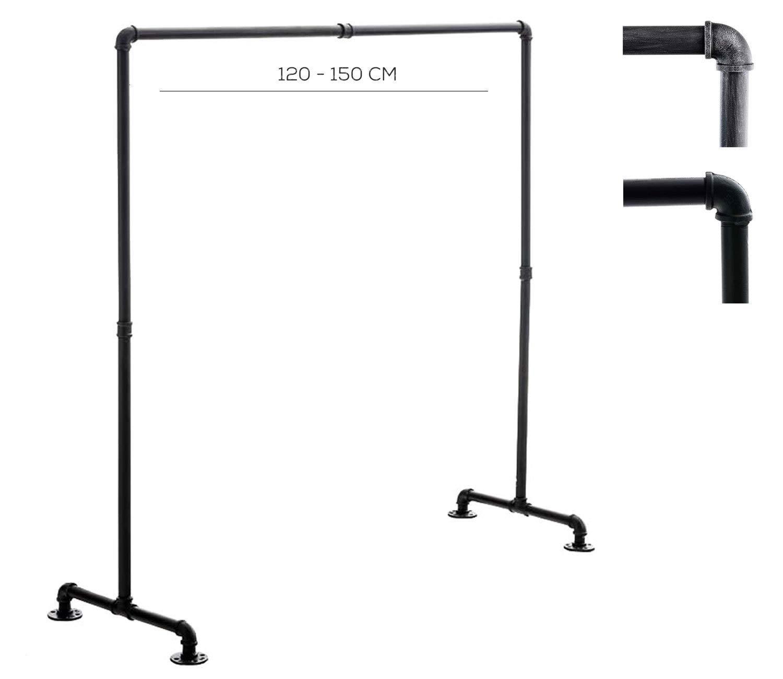 CLP Kleiderständer Jersey aus Metall im Angesagten Industrial Design   Höhe ca. 150 cm   Breite 120-150 cm 150 cm, Schwarz
