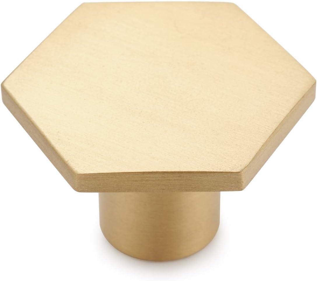 10PCS Brushed Brass Gold Decorative Cabinet Knobs Pure Solid Copper Kitchen Hardware Cupboard Drawer Dresser Pulls 1.3 inch Diameter Hexagon