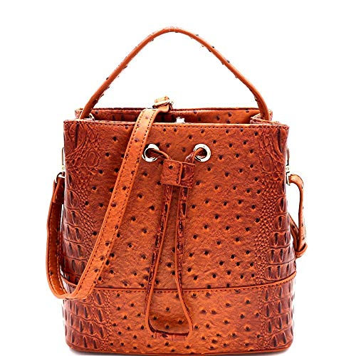 - Ostrich Embossed String Accent 2-Way Bucket Satchel Bag